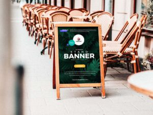 Free Outdoor Stand Banner Mockup Design