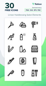 Read more about the article Linear Hairdressing Salon Elements Icon Pack