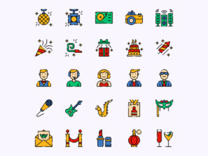 Night party icon set