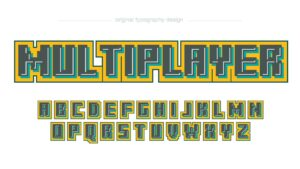Squared Pixel Colorful Artistic Font