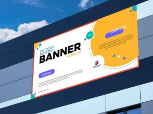 Free Outdoor Building Advertising Banner Mockup Design