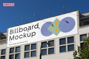 Free Billboard one the Building Mockup