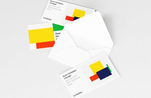 Opened Envelope and Business Cards Mockup