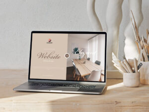 Read more about the article Free Laptop on Wooden Table Website Mockup Design